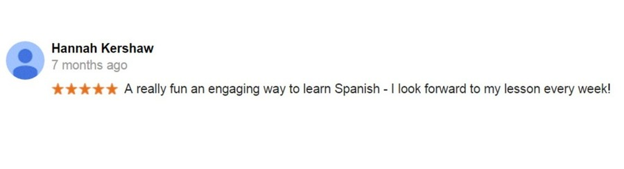 Spanish course Google review