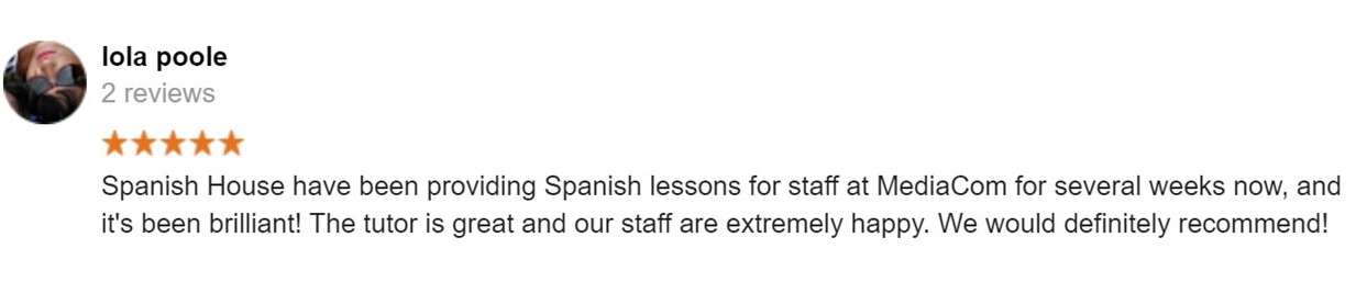 Excellent Google reviews on our Spanish courses
